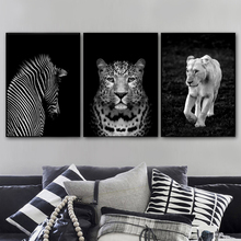 цена на Zebra Leopard Lion Black White Photo Wall Art Canvas Painting Nordic Posters And Prints Wall Pictures For Living Room Home Decor