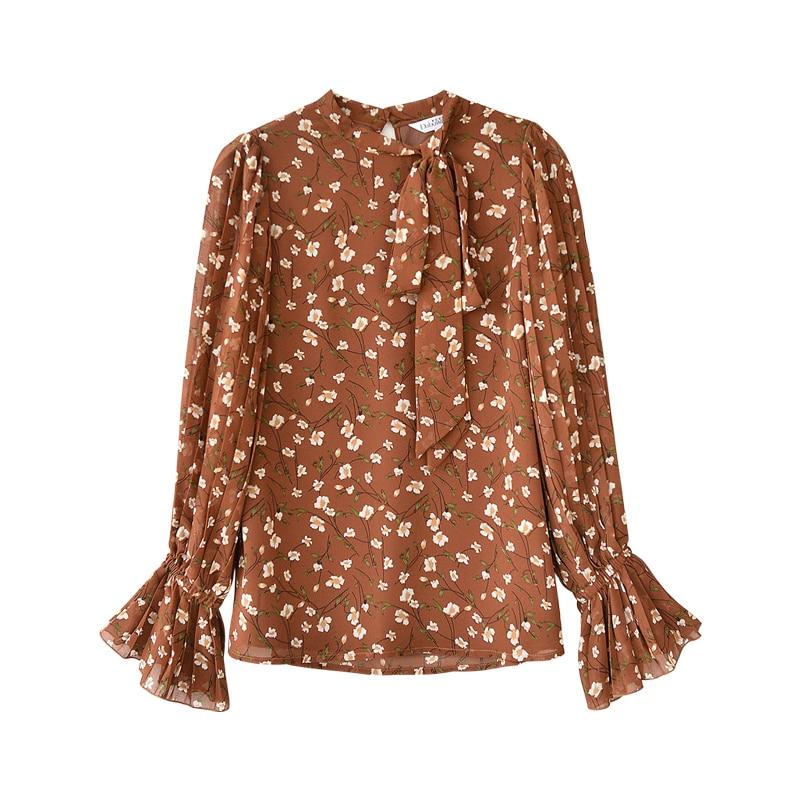 Top Dabuwawa Sleeves Print Printing Elegant Blouse 2018 Lantern Office Lady Long Women Lace Up New Autumn Brown Shirts aa8wrB