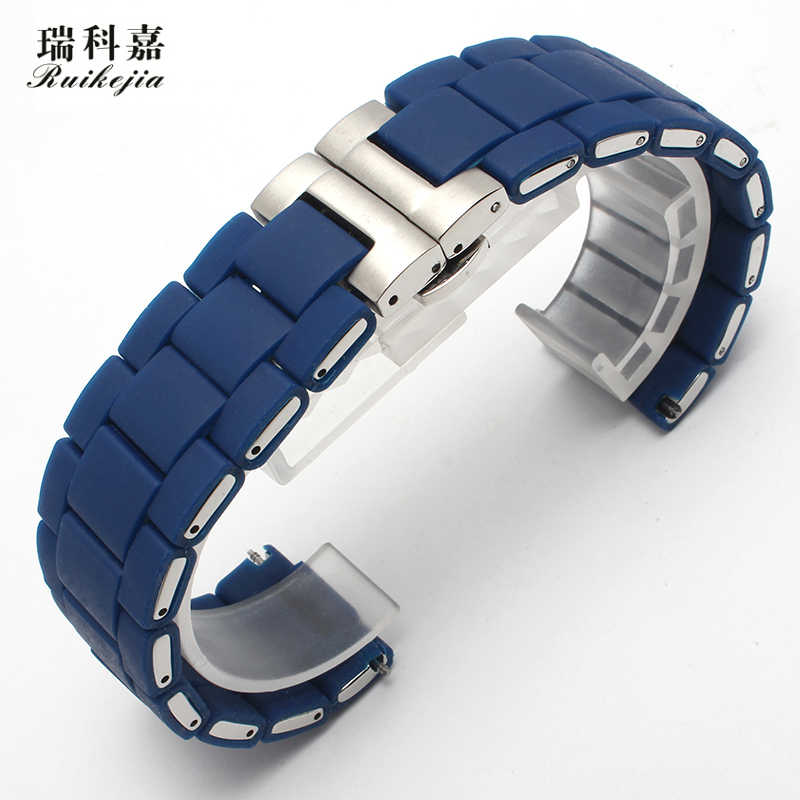 Suitable for Citizen blue sky make watch with silicone strap AT8020-54L/03L blue strap butterfly buckle male 23mm rubber strap
