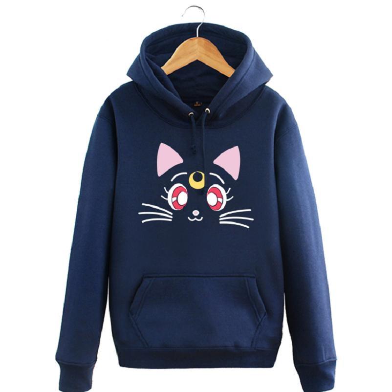 Высокое качество унисекс Сэйлор Мун Луна Harajuku пуловер куртка пальто толстовка с капюшоном Сэйлор Мун Луна толстовки пуловеры