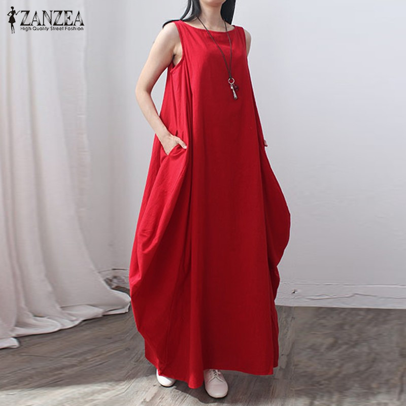 ZANZEA Women 2017 Summer Fashion Vintage Elegant Solid Sleeveless Dress Linen Casual Loose Long Maxi Dresses Vestidos Plus Size
