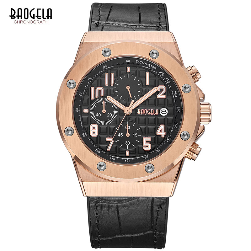 Image 2 - BAOGELA Men's Chronograph Quartz Watches 2019 New Waterproof Sports Casual Wrist Watch Man Leather Strap Clock 1805 Rose black-in Quartz Watches from Watches