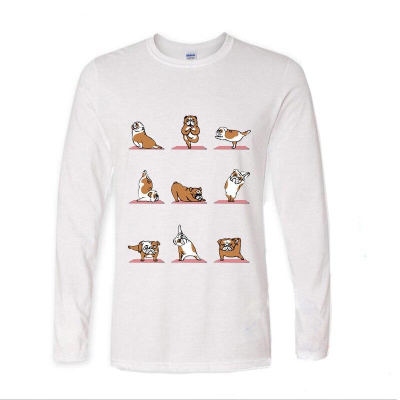 2017 Лидер продаж смешной Английский бульдог Мопс Frenchie yogasports забавные Длинные рукава футболка для мужчин