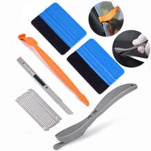 FOSHIO 6pcs Vinyl Wrap Car Stickers Magnetic Squeegee Styling Tools Set Carbon Fiber Cutter Knife Window Tints Accessories