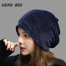 [HEAD BEE] 2018 Brand Beanies Hat Cotton Balaclava Bonnet Winter Cap Warm Adult Lady Knitted for Women
