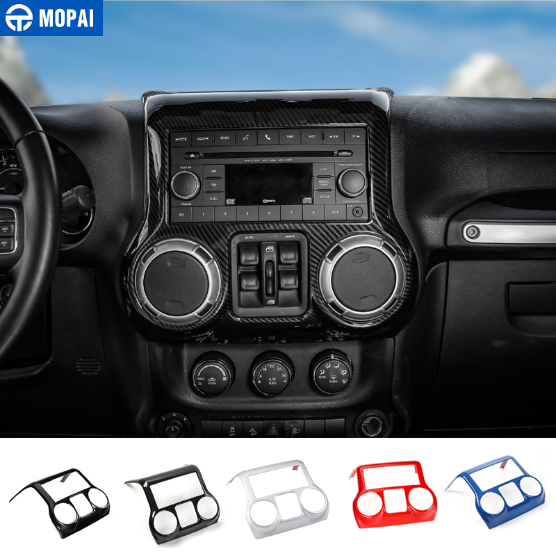 MOPAI Car Interior Center Dashboard Console Air Conditioning Decoration Cover Stickers for Jeep Wrangler JK 2011