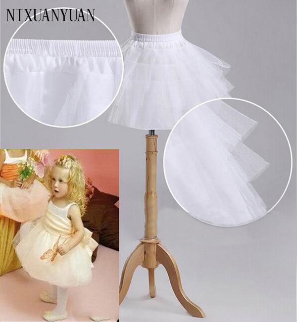 Brand New Children Petticoats for Formal Flower Girl Dress 3 Layers Hoopless Short Crinoline Little Girls
