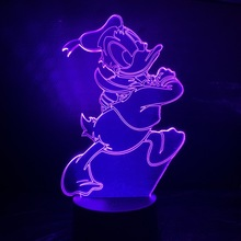 Cartoon Donald Duck 3D Night Lamp USB Touch Sensor Hoom Decorative Lights Child Kids Baby Nightlight Light LED