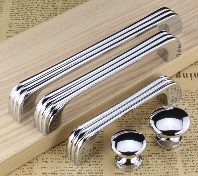 128mm Modern Kitchen Cabinet Pull Shiny Silver drawer cupboard dresser door handle 5 chrome furniture handles
