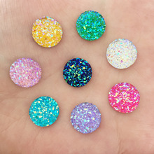 HOT 40PCS 12mm Random mixed of mineral surface flatback ROUND resin DIY craft buttons D67A