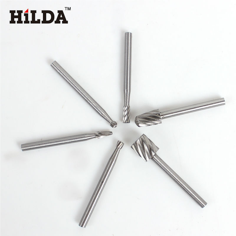 HILDA  Mini Drill Bits HSS Dremel Rotary Tool Burr Set Dremel Tools for Woodworking Carving Tools Kit  6PCS  Dremel Accessories hilda 6pcs emery grinding head for hilda tools 6pcs sanding bands dia 12 7mm with drum sander for drill bits machine