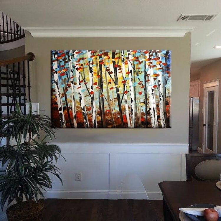 elegant comprar hecho a mano pintura al leo sobre lienzo rboles murales minimalista decoracin del hogar moderno with como hacer cuadros originales - Cuadros Originales Hechos A Mano