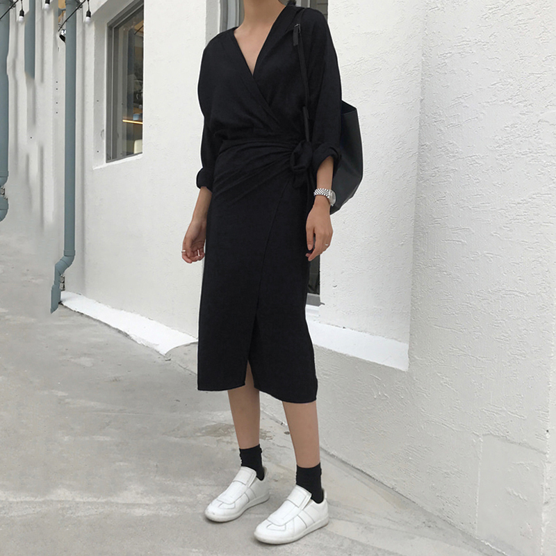 CHICEVER Bow Bandage Dresses For Women V Neck Long Sleeve High Waist Women's Dress Female Elegant Fashion Clothing New 19 5