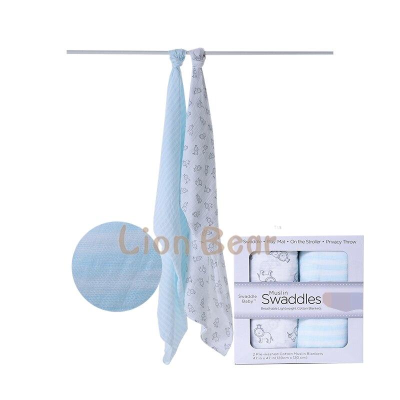 120*120cm Lion Bear Muslin Baby Swaddling Blanket Newborn Infant 100% Cotton Swaddle Bath Travel Towel Warp Cloth 2pcs Gift Box