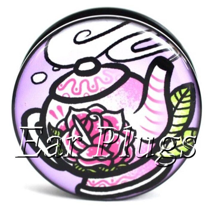 Wholesale 60pcs Cute Pink TeaPot ear gauges acrylic screw ear plug flesh tunnel body piercing mix size 6mm-25mm A0502