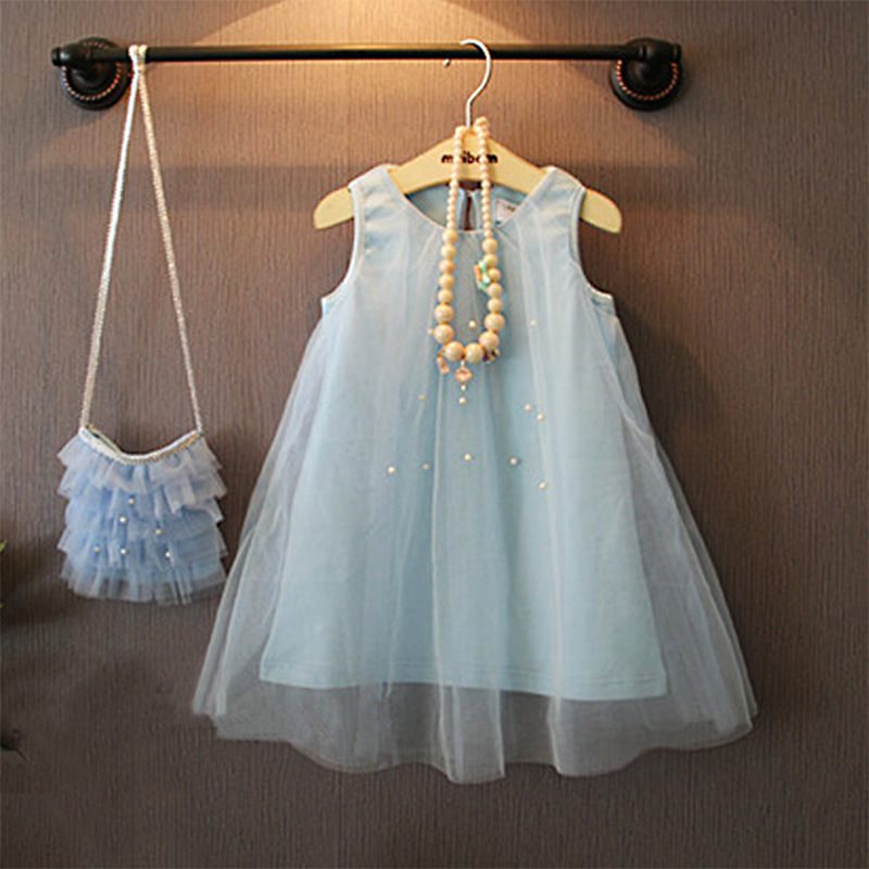 Summer New Design Girls Dress Princess Style Kids Pearls Girl Clothes CD-076 - Baby Children Paradise store