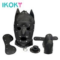 IKOKY Sombrerería Adultos Juguetes Eróticos Sex Games Negro PU Perro Campana máscara Completamente Cerrado Juguetes Sexuales para Pareja Sexy Máscara de Cabeza de Esclavo