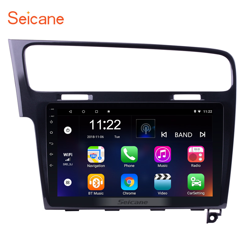 Seicane Android 7.1/8.1 Quad-core 10.1 inch Car Radio HeadUnit GPS Navi Player for 2013- 2015 VW Volkswagen Golf 7 With SWC WIFI