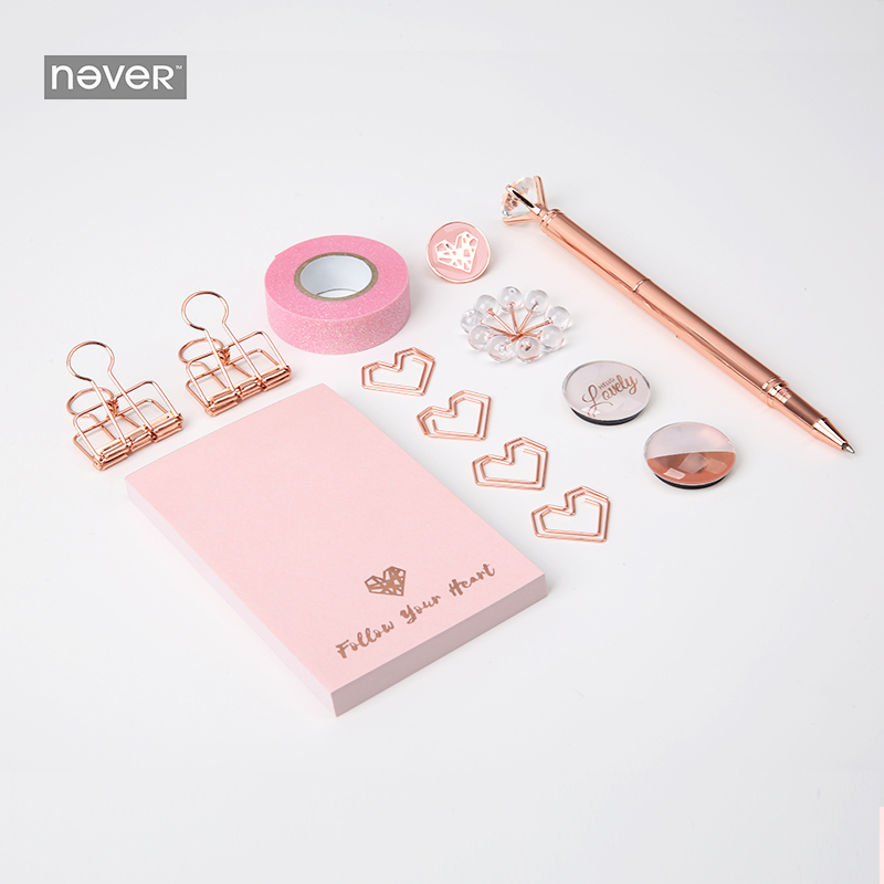 Image 3 - Never Rose Gold Series Stationary Set Metal Pen Memo Pad Push Pins Washi Tape Paper Clips School Office Supplies Gift Stationary-in Stationery Set from Office & School Supplies