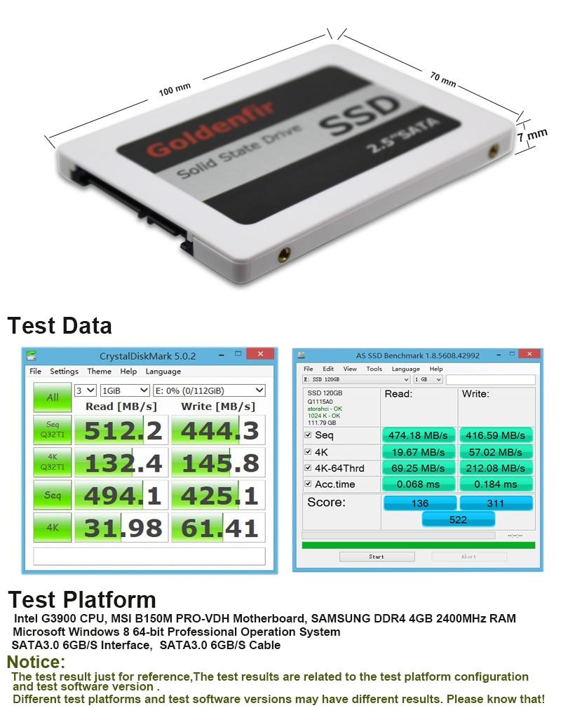 HD SSD 60GB 120GB 240GB 360GB 480GB 720GB 960GB Memória Goldenfir