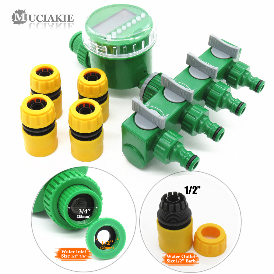 MUCIAKIE Garden Water Timer with 1/2/4-Way Hose Splitter Automatic Watering Irrigation Controller Adapter 4/7 8/11 16mm Hose 6