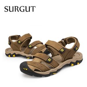 Image 5 - SURGUT New Fashion Summer Beach Breathable Men Sandals Brand Genuine Leather Mens Sandals Man Casual Shoes Plus Size 38 47