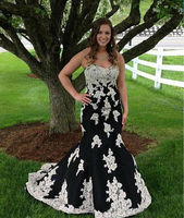 Black With White Lace Applique Mermaid Evening Dress Strapless Formal Party Gown Custom Lace Up