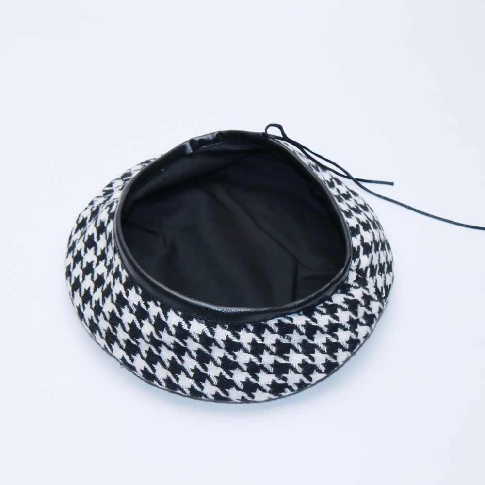 Novo outono inverno xadrez boina chapéus para mulheres boinas francesas moda feminina houndstooth boinas pretas com corda ajustável