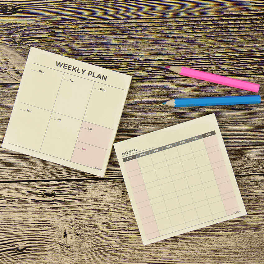 1PC FAI DA TE Carino Kawaii Settimanale Mensile Lavoro Planner Libro del Diario Agenda Per La Scuola I Bambini