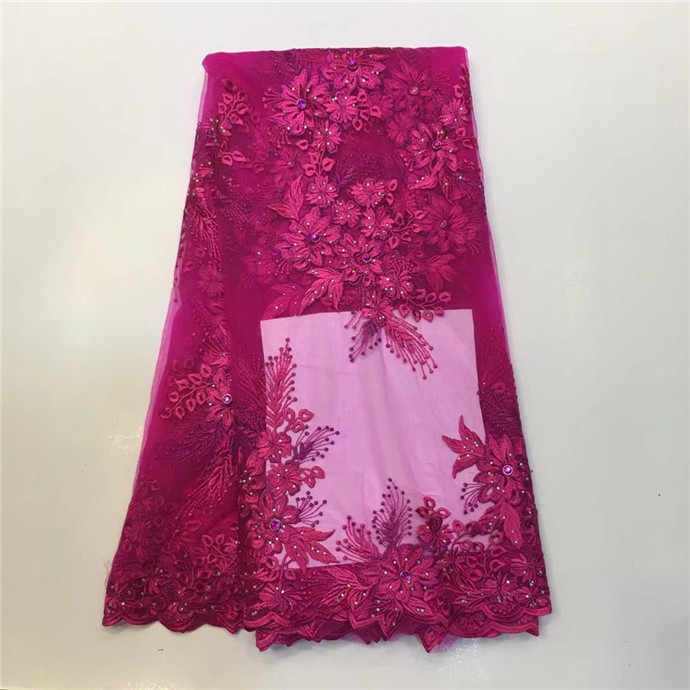 Latest African Lace Fabric Black French Stones Net Lace Fabric/High Quality African Beaded Tulle Fabric red pink blue