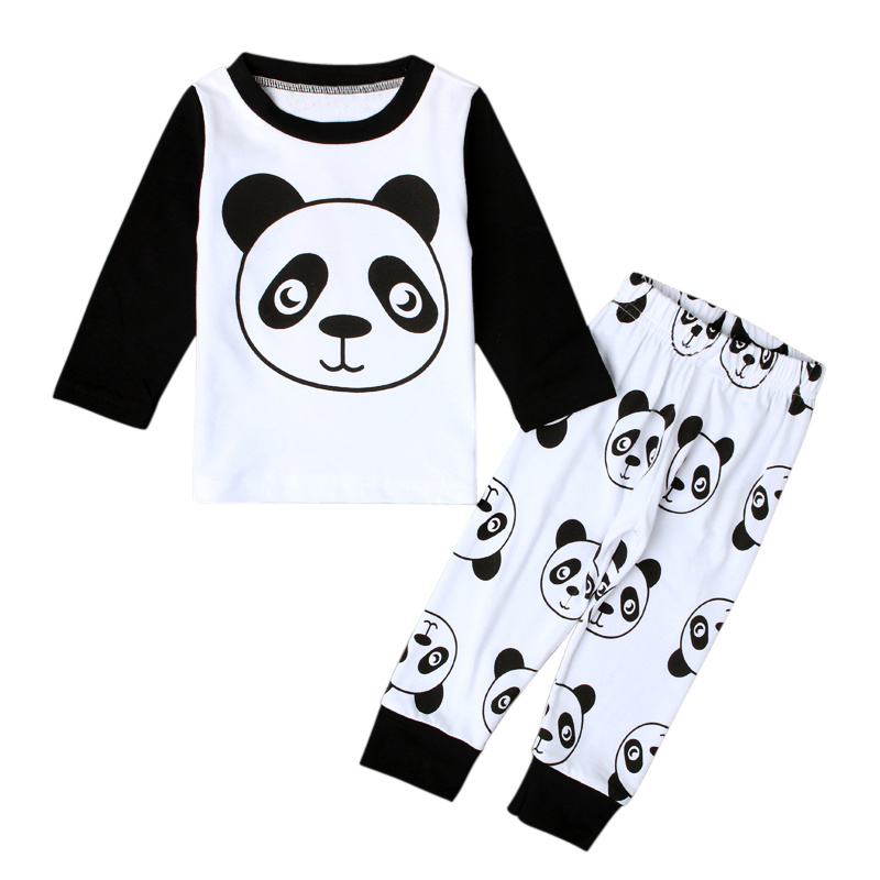 Cute Boys Clothes Set Cartoon Panda Cotton Kids Pajamas Spring Autumn Baby Boy Nightwear Suits Children Outfits Brand New