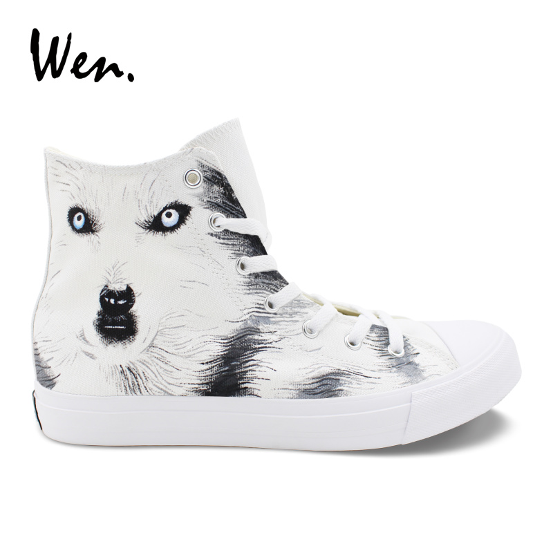 Wen Hand Painted Shoes Snow Wolf Animal Painting White Canvas High Top Sneakers Unisex Footwear Lacing Espadrilles Flat Zapatos недорого