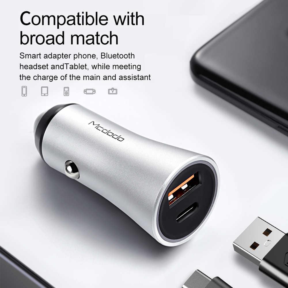 Mcdodo المزدوج USB شاحن سيارة 36 واط أوسب نوع C PD سريع شاحن آيفون X 8 زائد QC3.0 سيارة الهاتف شاحن سامسونج Xiaomi ال جي