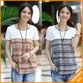 Chegada nova 2017 mulheres casual verão coreano algodão solto O Pescoço listrado étnica floral tee impressão # ada t-shirt #174