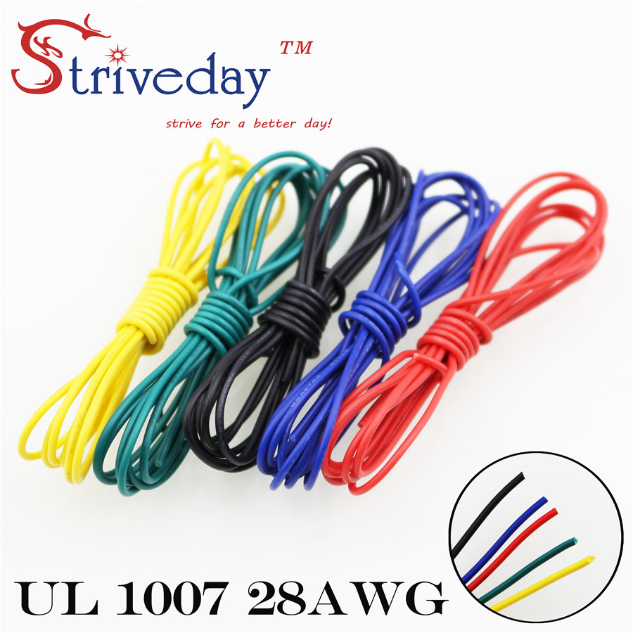 Striveday 1007 28AWG Cable Copper Wire 1 Meter Each Red Blue Green ...