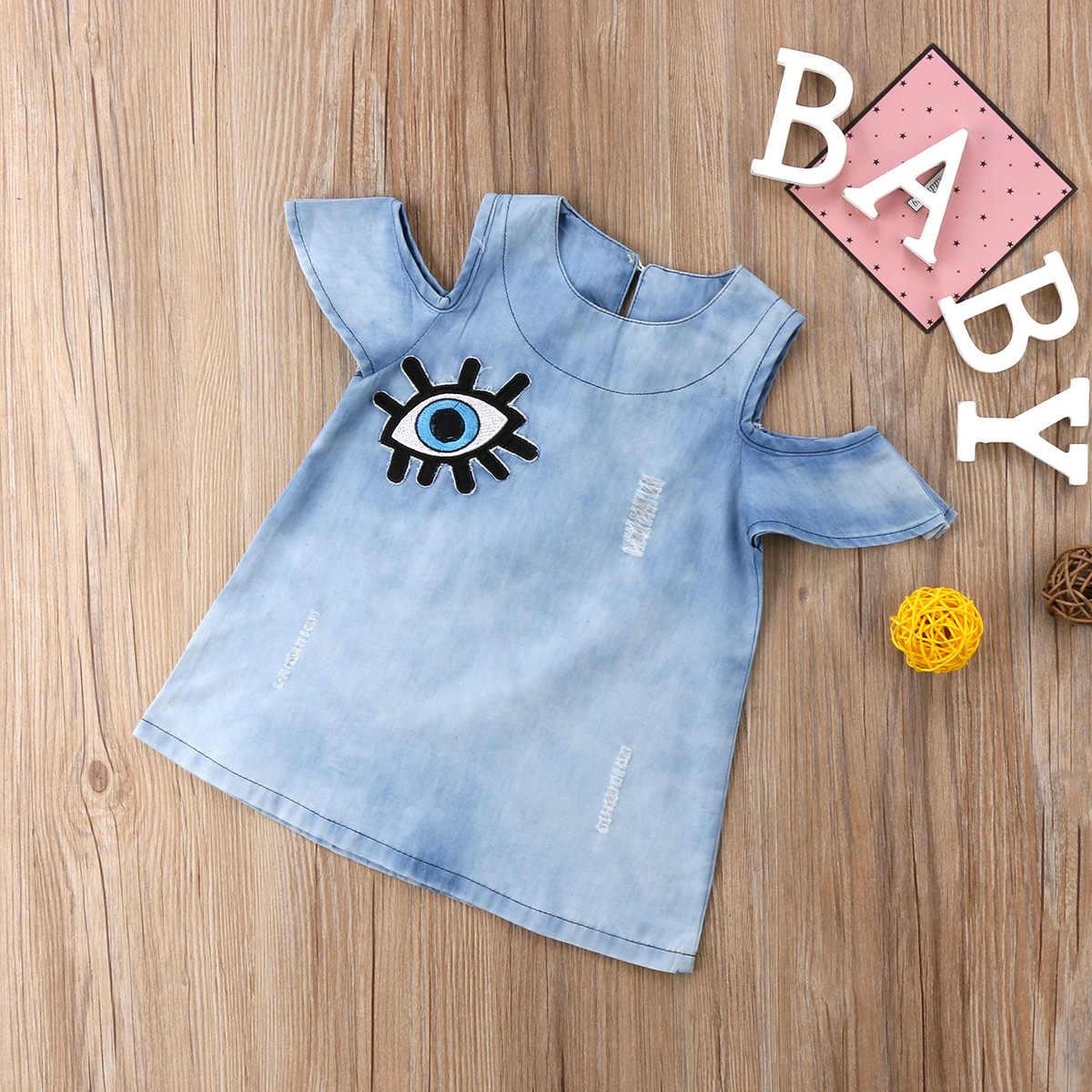 47bce926fa7f ... Fashion Toddler Kids Baby Girls Denim Dress Big Eye Appliques Princess  Dress Girl Outfits Clothes ...
