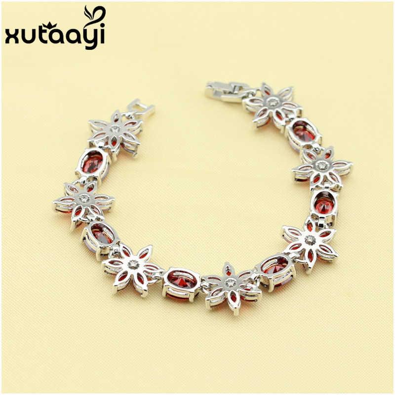Wykonane w chinach kwiat Red utworzono granat biały kryształ, 925 srebrny łańcuch-Link bransoletka kobiety moda biżuteria długość 19 cm