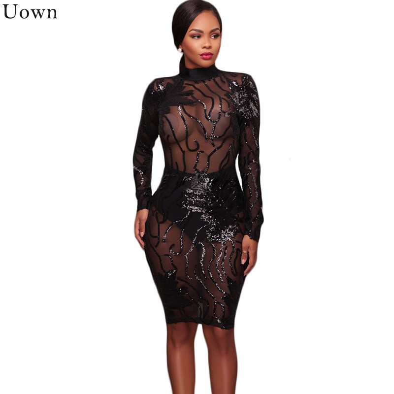 18eb0bc0 Detail Feedback Questions about Doyerl Women Long Sleeve Black Sequin Dress  Sexy Mesh See Through Backless Bodycon Pencil Party Sparkly Dresses Vestido  De ...