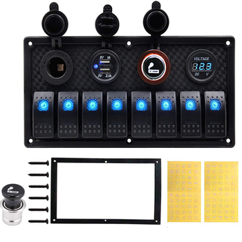 6 8 Gang Dual USB Mobil Switch Panel 12 V RV Perahu Listrik Voltmeter Digital Circuit Breaker USB charger Adaptor
