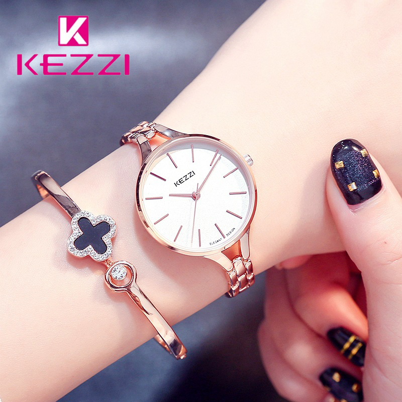 Kezzi Women Bracelet Watches Ladies Stainless Steel Band Big Dial Quartz Wrist Watch For Woman Christmas Gift with Box high quality kezzi brand luxury ladies watches fine inlaid cyrstal dial leather strap quartz watch wrist watches for women gift