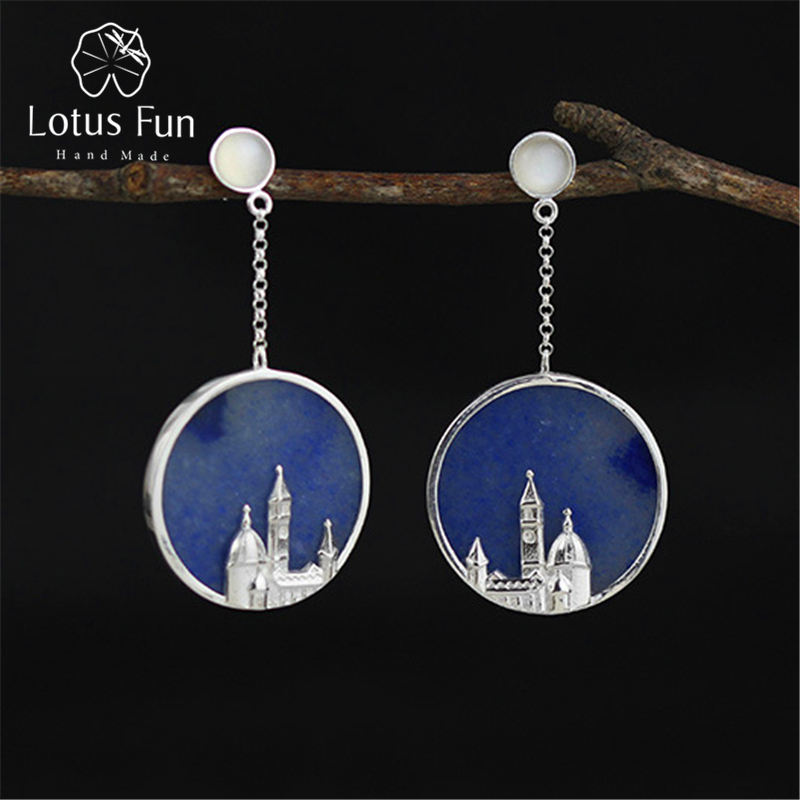 Lotus Fun Real 925 Sterling Silver Natural Original Handmade Fine Jewelry Vintage Florence Cathedral Dangle Earrings for Women цены онлайн