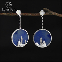 Lotus Fun Real 925 Sterling Silver Natural Original Handmade Fine Jewelry Vintage Florence Cathedral Dangle Earrings for Women