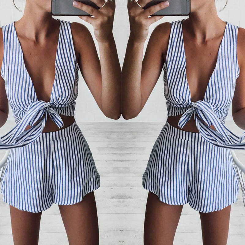Women Sexy Stripe Two Pieces Bandage V-neck Tops+Shorts Suit Summer Beach Clothes Set -MX8