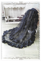 Gothic Black Lolita Veil Elbow Length Mesh 2 Layer Veil Free Shipping by Infanta