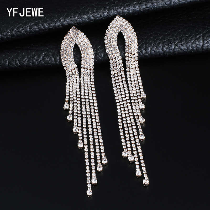 YFJEWE 2019 Fashion Women  Long Streamlined Tassel Crystal Earrings Woman Girl Jewelry Pendante Femme  #E621