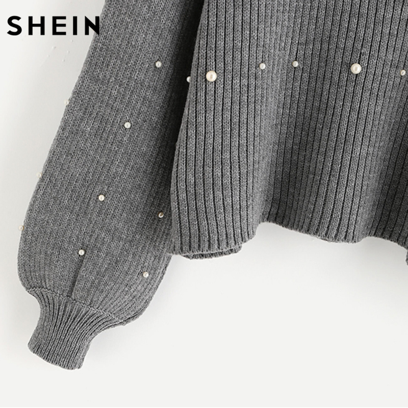 SHEIN Pearl Beaded Rib Knit Jumper Autumn Winter Womens Pullover Sweaters  Grey Stand Collar Long Sleeve ... c0e282970
