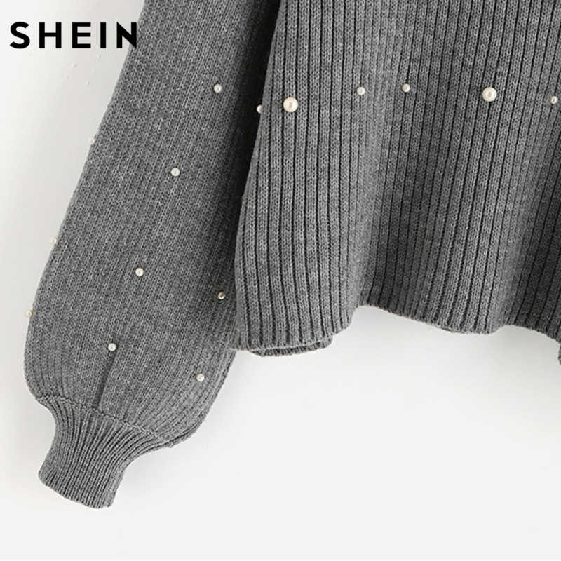 4af06859e2 ... SHEIN Pearl Beaded Rib Knit Jumper Autumn Winter Womens Pullover Sweaters  Grey Stand Collar Long Sleeve ...