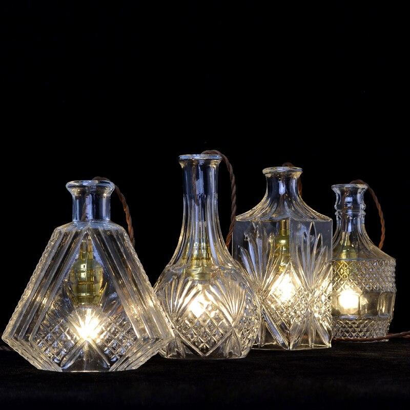 JAXLONG Engraving lustre Glass Wine Bottles Pendant Lamp Nordic Style Home Decr Hanglamp Living Room Bedroom Lighting Lights in Pendant Lights from Lights Lighting