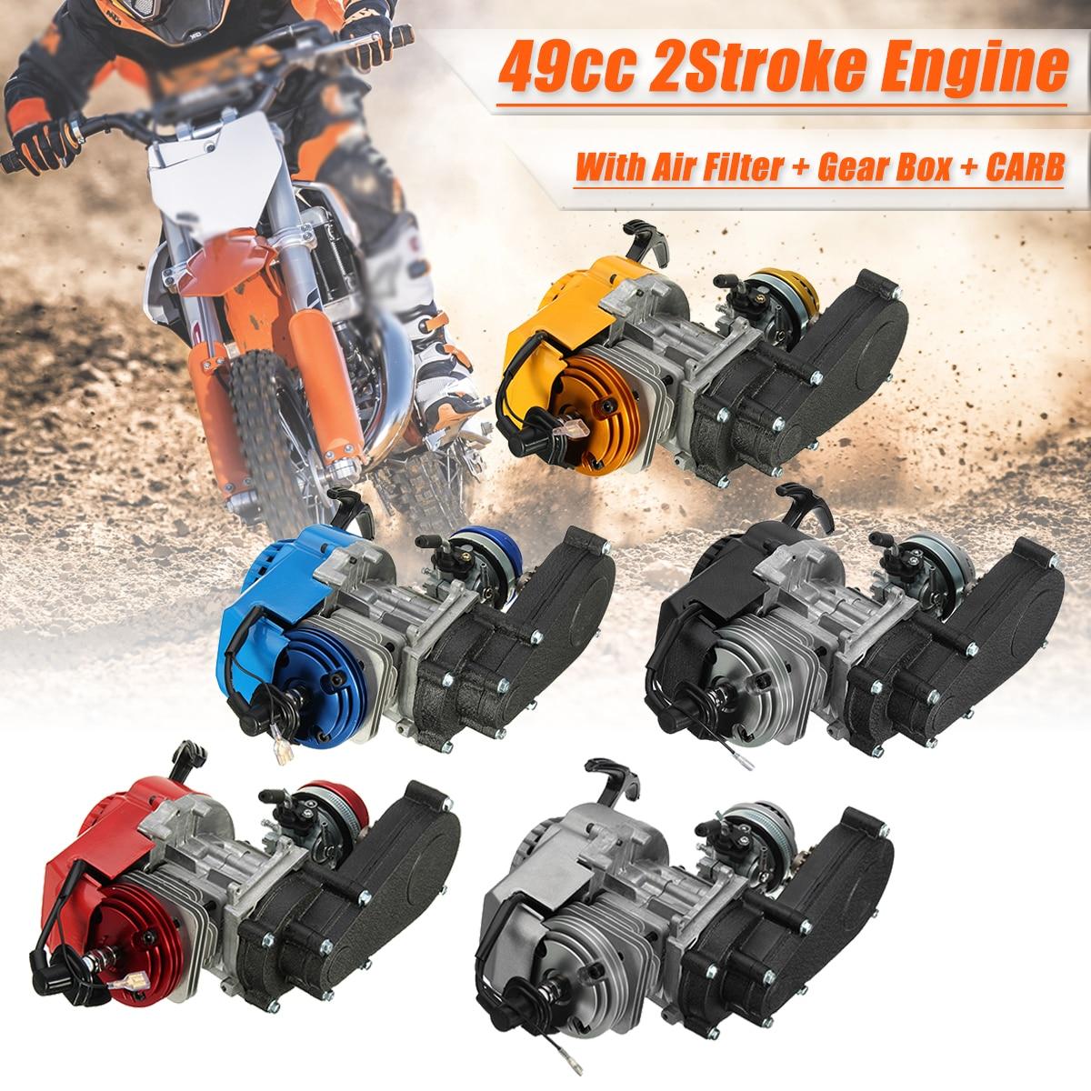 2 тактный двигатели для автомобиля двигатель w/трансмиссия CarburetorAir фильтр шестерни Box 49CC мини Байк ATV Quad синий желтый черный, красный щепка