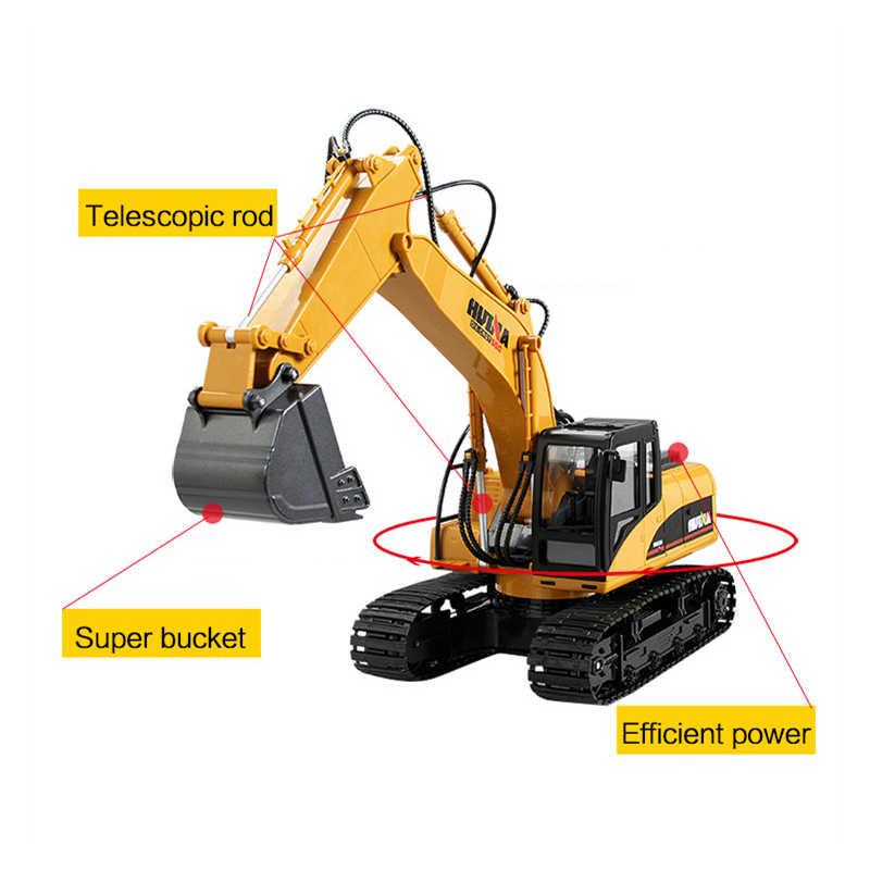Drift RC excavadora Huina Rc modelo juguetes de Control remoto para niños aleación 1/12 de coches Rc Excavadora hidráulica Radio Control